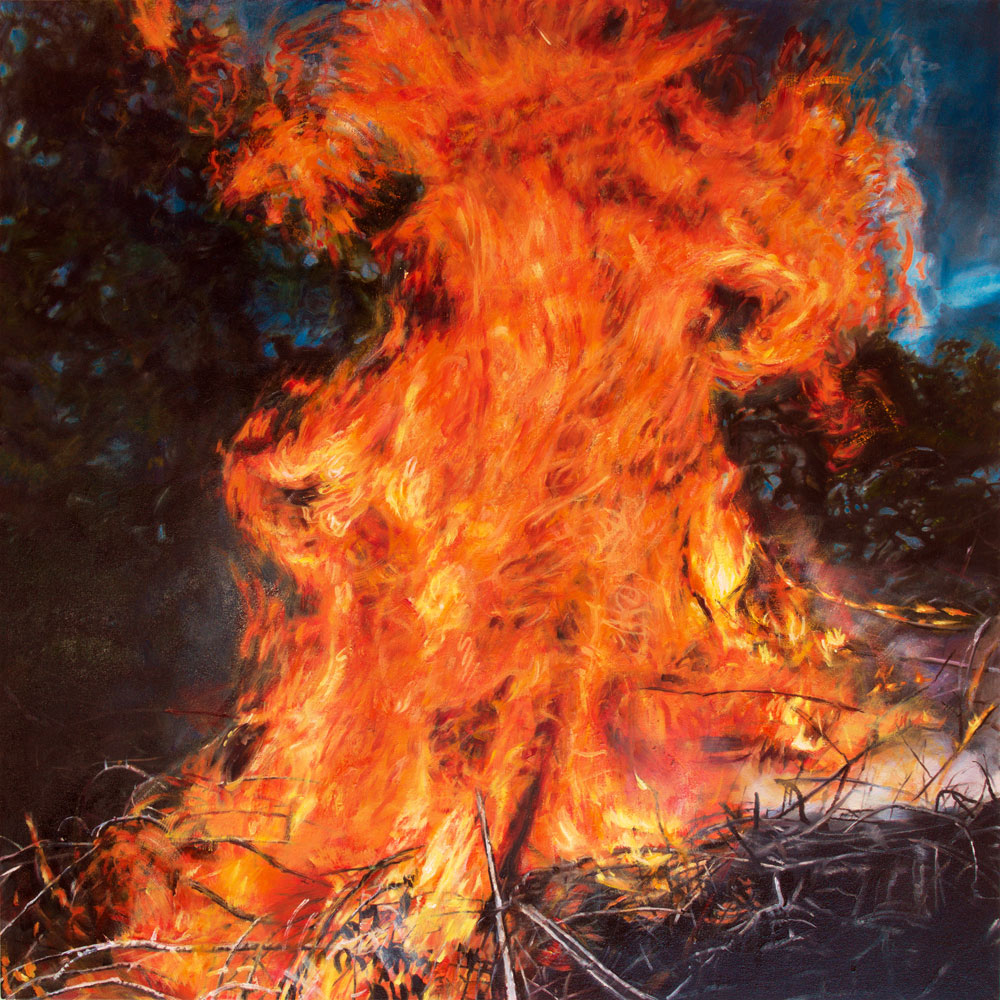 Painting of fire. Burning brush.