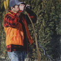 Painting of hunter with orange vest