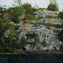 Painting of Canadian Shield rock with three figures. (thumb)