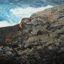Painting of Newfoundland coastline with small figure.(thumb)