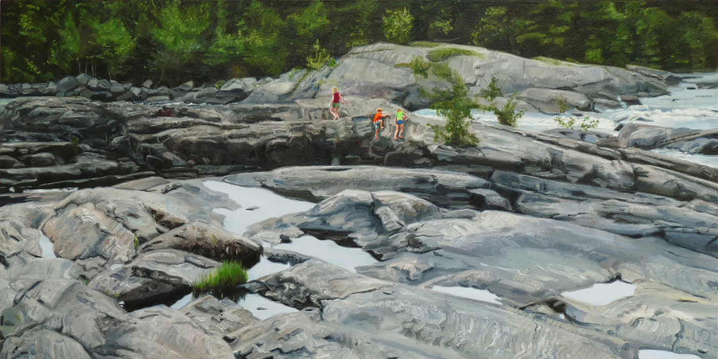 Paintings of Canadian Shield landscapes with small figures