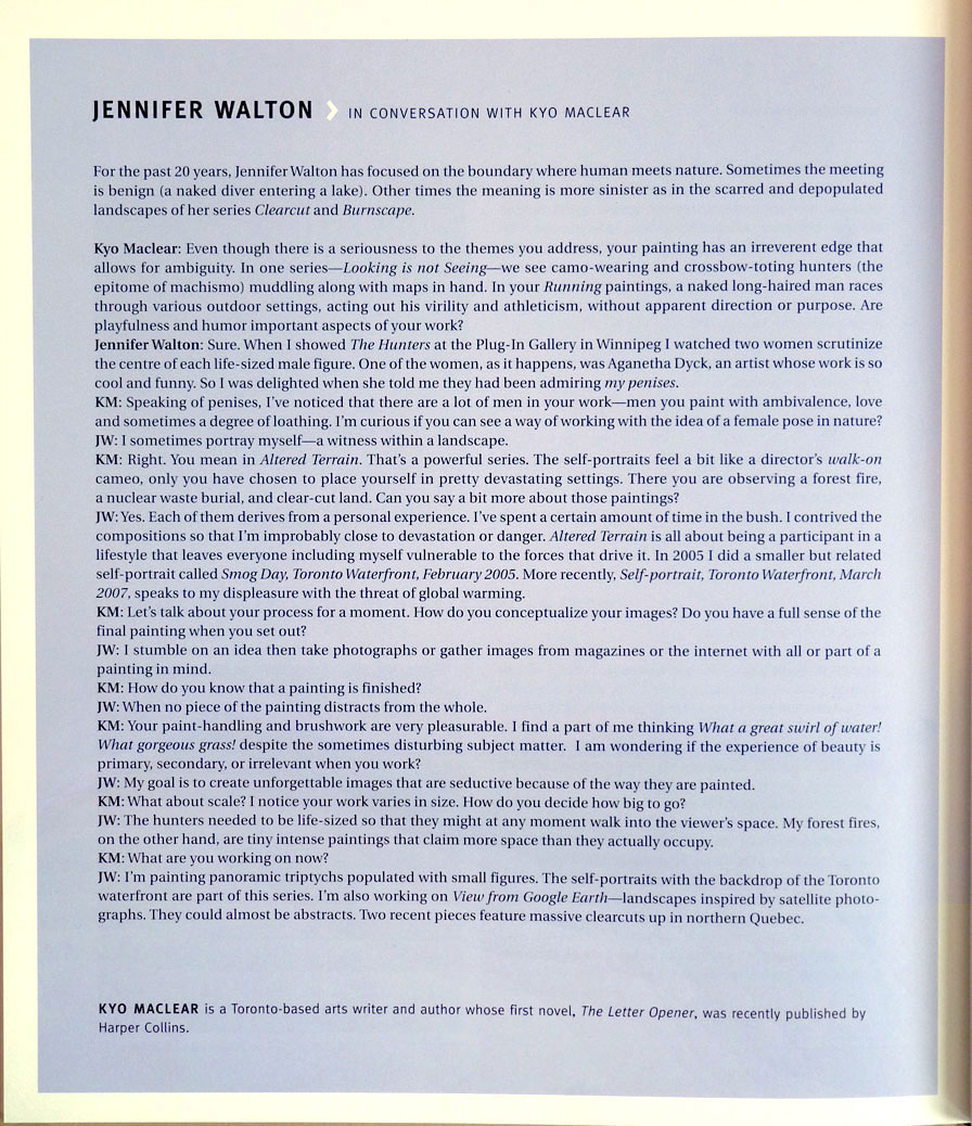 RBC Painting Prize book, Interview with Jennifer Walton.